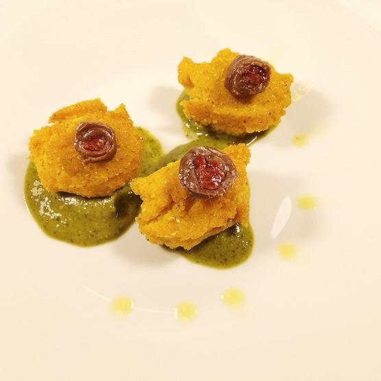 quenelle-polenta-alici-pesto